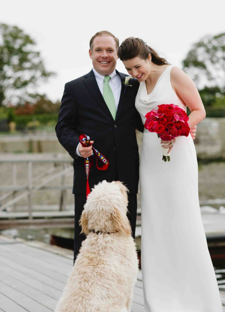 Hugh, Ashley, and Wedding Dog Frank